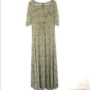 Lapis Black and Gold Print Maxi Dress